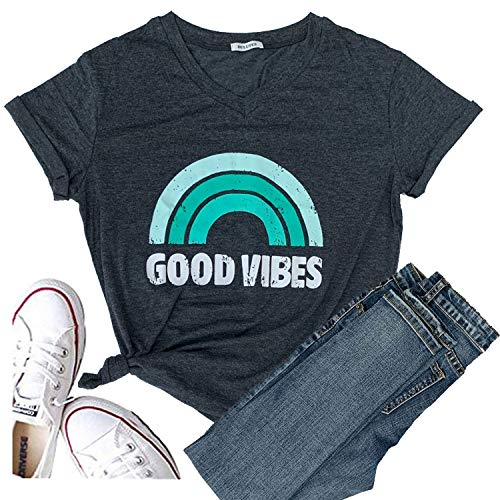 Womens Good Vibes Shirt Short Sleeve Graphic Tees Rainbow Print Funny T Shirts Cute Summer Tops V-Neck for Mom Girl Ladies (L, Green)