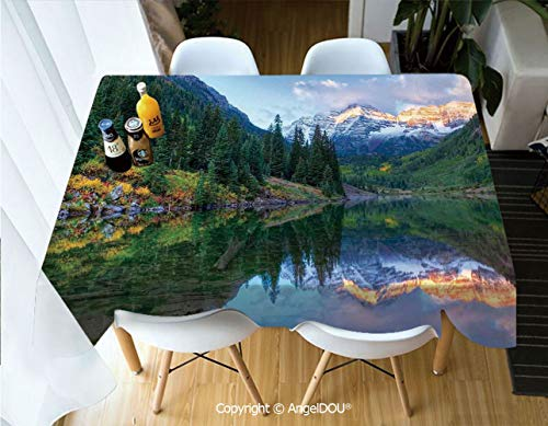 AngelDOU Waterproof Stain Resistant Lightweight Table Cover Reflection of Snowcapped Maroon Bells in Fall at Sunrise Panoramic Picture Print for Camping Picnic Rectangular Table Cl,W55xL82(inch)