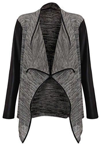Nueva mujer manga larga aspecto mojado PU PVC Brazos Abierto Cascada Cardigan Top 8–�?4 gris oscuro