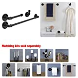 Industrial Pipe Bathroom Hardware Fixture Set by Pipe Decor | 3 Piece Kit Includes Robe Hook, 18 Inch Towel Bar and Toilet Paper Holder, Heavy Duty DIY Style, Modern Chic Electroplated Black Finish