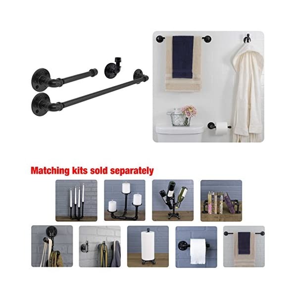Industrial Pipe Bathroom Hardware Fixture Set by Pipe Decor 3 Piece Kit Includes Robe Hook, 18 Inch Towel Bar and Toilet Paper Holder, Heavy Duty DIY Style, Modern Chic Electroplated Black Finish 4