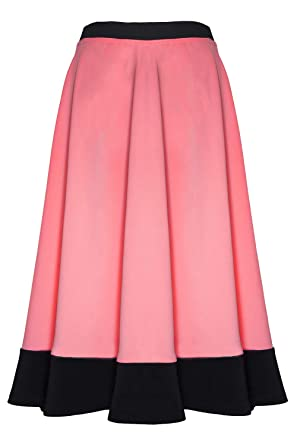 b176aa816d6 Image Unavailable. Image not available for. Colour  Be Jealous Womens  Ladies Celeb Stretch Panel Scuba Flared Skater Swing Midi Skirt Plus Size  Coral