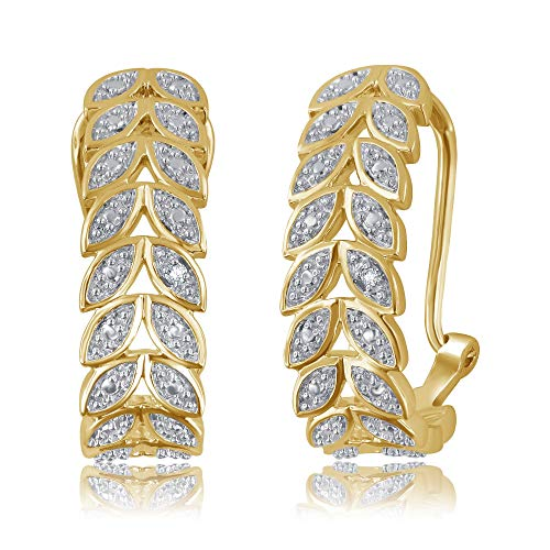 Genuine 0.02 Carat Natural Diamond Accent Earrings In 14K Yellow Gold Plated