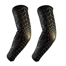 HemeraPhit Compression Arm Sleeves Spider Web Design Weightlifting Elbow Sleeves Arm Wraps for Baseball, Basketball, Football,Cycling & Fitness, 1Pair (Black+Gold, L)