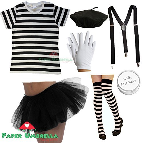 French Mime Fancy Dress (Ladies FRENCH MIME Fancy Dress Costume 7 PIECE SET circus artist Hen outfit (Women: 14-16) by PAPER UMBRELLA)