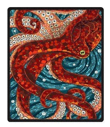 BEEBEE Printing red Octopus Velvet Plush Throw Blanket Bed Blankets Super Soft and Cozy Fleece Feeling Blanket for Travelling 58
