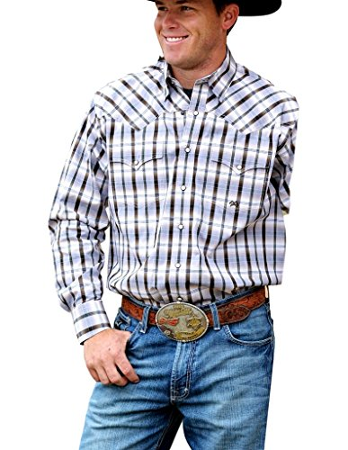 Miller Ranch Western Shirt Men L/S Plaid Snap L White Brown ()
