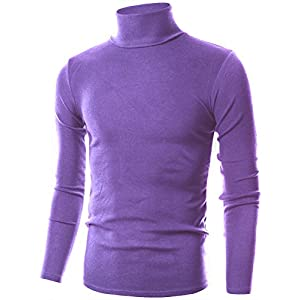 Ohoo Mens Slim Fit Soft Cotton Pullover Light Mock Neck