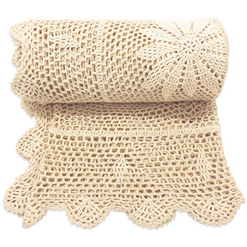 Zenviro #039The Boho Throw#039  100% Cotton Hand Knitted Crochet Macrame Throw Blanket  for Couch Chair Sofa Bed 50x60 inch