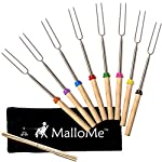 MalloMe Marshmallow Roasting Smores Sticks - Camping Accessories for Campfire Fire Pit Cooking - Set (Set of 8) 10 🏕️ ONLY MalloMe WILL LAST! BEWARE OF CHEAP KNOCK OFFS! Highest quality FDA APPROVED power welded forks use Non-Toxic 18/8 304 STAINLESS STEEL to ensure no rusting & safe roasting. PERFECT ROAST: Two prongs to prevent marshmallow from spinning on stick when melting. EASY CLEANING & STORAGE: Retracting fork design and heat-resistant canvas pouch are convenient for long camping trips or storing at home 🏕️BEST MONEY EVER SPENT: The MalloMe Marshmallow Roasting Sticks Bundle includes 8 Piece Telescoping Fork Set + Canvas Travel Bag Pouch + 10 Bamboo Skewers + Perfect Marshmallow Roasting and Smores Making Guide with 10 recipes Ebook 🏕️PERFECT GIFT for FAMILY and FRIENDS: Best Marshmallow Roasting Sticks for anyone looking for a high quality, great value product to enjoy at the cookout with the people you love.