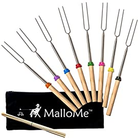 MalloMe Marshmallow Roasting Sticks - Smores Skewers for Fire Pit Kit - Hot Dog Camping Accessories Campfire Marshmellow 32 Inch Long Fork - 8 Pack 1 🏕️ ONLY MalloMe WILL LAST! BEWARE OF CHEAP KNOCK OFFS! Highest quality FDA APPROVED power welded forks use Non-Toxic 18/8 304 STAINLESS STEEL to ensure no rusting & safe roasting. PERFECT ROAST: Two prongs to prevent marshmallow from spinning on stick when melting. EASY CLEANING & STORAGE: Retracting fork design and heat-resistant canvas pouch are convenient for long camping trips or storing at home 🏕️BEST MONEY EVER SPENT: The MalloMe Marshmallow Roasting Sticks Bundle includes 8 Piece Telescoping Fork Set + Canvas Travel Bag Pouch + 10 Bamboo Skewers + Perfect Marshmallow Roasting and Smores Making Guide with 10 recipes Ebook 🏕️PERFECT GIFT for FAMILY and FRIENDS: Best Marshmallow Roasting Sticks for anyone looking for a high quality, great value product to enjoy at the cookout with the people you love.