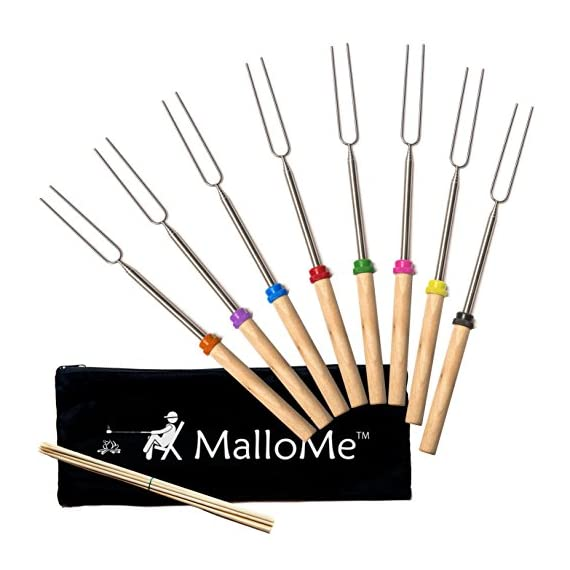 MalloMe Marshmallow Roasting Smores Sticks - Camping Accessories for Campfire Fire Pit Cooking - Set (Set of 8) 1 🏕️ ONLY MalloMe WILL LAST! BEWARE OF CHEAP KNOCK OFFS! Highest quality FDA APPROVED power welded forks use Non-Toxic 18/8 304 STAINLESS STEEL to ensure no rusting & safe roasting. PERFECT ROAST: Two prongs to prevent marshmallow from spinning on stick when melting. EASY CLEANING & STORAGE: Retracting fork design and heat-resistant canvas pouch are convenient for long camping trips or storing at home 🏕️BEST MONEY EVER SPENT: The MalloMe Marshmallow Roasting Sticks Bundle includes 8 Piece Telescoping Fork Set + Canvas Travel Bag Pouch + 10 Bamboo Skewers + Perfect Marshmallow Roasting and Smores Making Guide with 10 recipes Ebook 🏕️PERFECT GIFT for FAMILY and FRIENDS: Best Marshmallow Roasting Sticks for anyone looking for a high quality, great value product to enjoy at the cookout with the people you love.