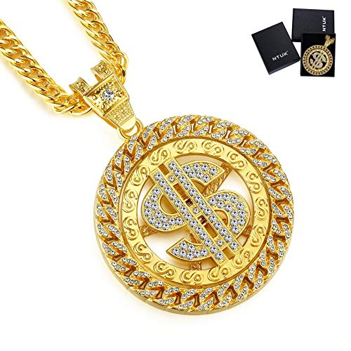 NYUK Gold Chain for Men with Dollar Sign Pendant Necklace (Style D 36'' Length)