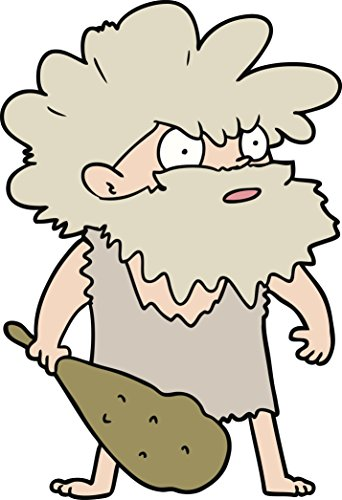 Shocked Confused Ancient Stone Age Caveman Cartoon Vinyl Decal Sticker (2