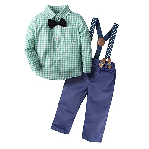 BIG ELEPHANT Baby Boys' 3 Piece Gentle Pants Clothing Set with Bowtie H03, Green, 3 - 6 Months