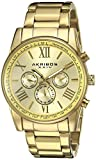 Akribos XXIV Men's AK904YG Round Yellow Gold Radiant Sunburst Dial Two Time Zone Quartz Bracelet Watch