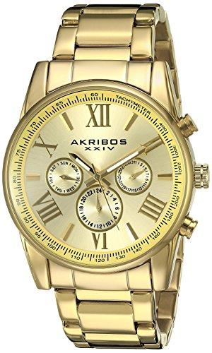 Akribos XXIV Men's AK904YG Gold-Tone Multi-Function Quartz Bracelet Watch