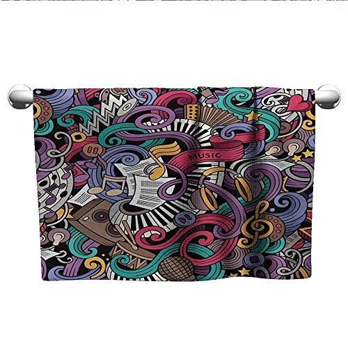 - alisoso Doodle,Fitness Towels Music Themed Hand Drawn Abstract Instruments Microphone Drums Keyboard Stradivarius Quick Dry Towel Multicolor W 20