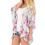 Cardigan Women Work,Fashion Womens Chiffon Shawl Print Kimono Cardigan Top Cover Up Blouse Beachwear,Women's Blazers & Suit Jackets,Pink,S