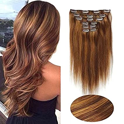 SHOWJARLLY Straight Remy Clip in Human Hair 7pcs/set Full Head Clip in Hair Extensions 70g-120g 16 Inch Double Weft Human Hair Extensions #4 Chocolate Brown