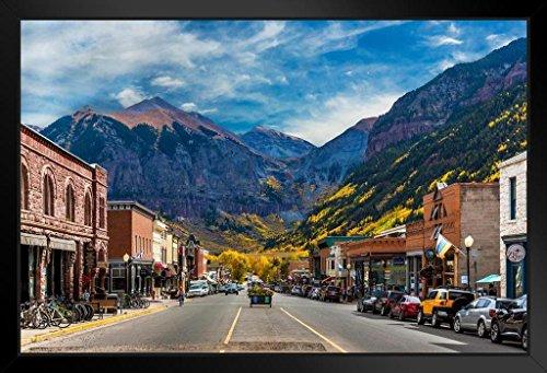 (Main Street Telluride Colorado Photo Art Print Framed Poster 20x14 inch)