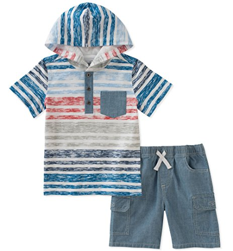 (Kids Headquarters Baby Boys 2 Pieces Hooded Shorts Set, red/Blue, 12M)