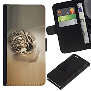 Planetar® Modelo colorido cuero carpeta tirón caso cubierta piel Holster Funda protección Para Apple (4.7 inches!!!) iPhone 6 ( Cerebro Humano Anatomía Arte Dibujo Pintura Cabeza )