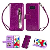Zipper Wallet Case for Samsung Galaxy S8 Plus,Aoucase Luxury Glitter Sparkly Bling Pocket Purse Wrist Strap Soft TPU Stand Leather Case with Black Dual-use Stylus - Purple