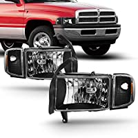 For 94-01 Dodge Ram 1500 2500 3500 Truck Black Headlights w/Corner Signal Lamps Left+Right
