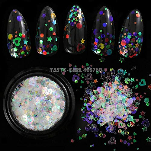 Glitter Acrylic Powder: 1 Jar Mix Shapes Glitter Iridescent AB Acrylic Sequins Shiny Irregular Fragments Powder Nail Art Paillette Decoration DIY HG# ()