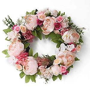 Fitlyiee Non-Toxic Artificial Wreath Silk Long-Term Use Flower Wreath for Front Door Wedding Wall Home Decor 32