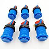 BLEE US Type Standard Push Arcade Buttons with Microswitch for Jamma Mame Video Arcade Games DIY (Blue,Pack of 6pcs)