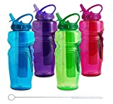 Cool Gear Ez Freeze Water Bottle, 32oz, Solstice - BPA Free - PVC Free - Phthalates Free, Includes Switx Straw Cleaner - 4 Pack