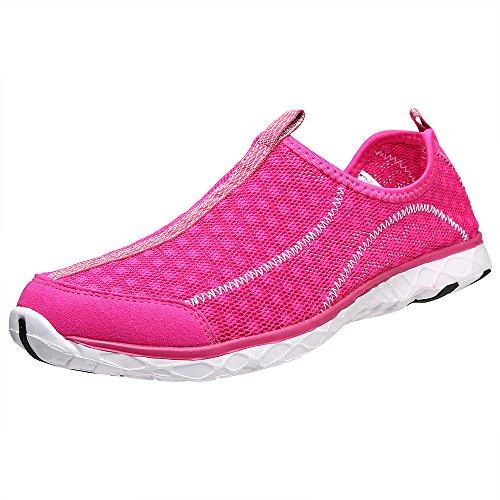 Aleader Mujeres de Malla Slip On Zapatos de Agua Red8521A