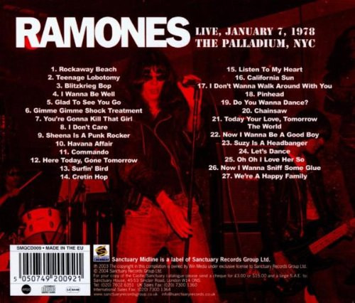 Live January 7, 1978 at the Palladium, NYC by Ramones, The