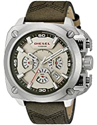Diesel Mens BAMF Quartz Stainless Steel and Leather Casual Watch, Color:Green (Model: DZ7367)