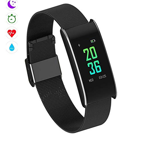 Qpw Fitness tracker, motion smart bracelet, heart rate monitor, IP67 waterproof pedometer compatible ios,android