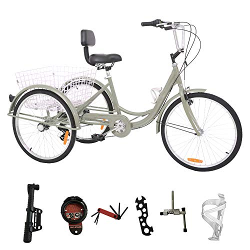 DoCred 24 Inch Adult Tricycle 7 Speed 3 Wheel Bike Adult Tricycle Trike Cruise Bike Men's Women's Cruiser Bicycles w/Large Basket and Maintenance Tools (Silver)