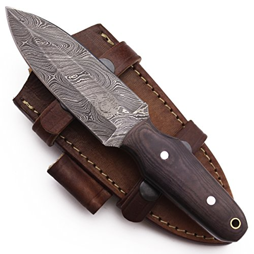 Micarta Leather Sheath (WolfKlinge DCX17-53 Handmade Damascus Steel Hunter Dagger, Micarta Handle, with Cowhide Leather Sheath)