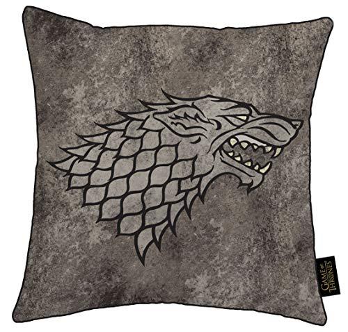 Merchandise Boutique Officielle Game Of Thrones Coussin 38x38 cm Et Coussinet Inclus Motif Imprimé Le Trône De Fer Carte De Westeros Maison Lannister Et Stark | Idée Cadeau (Maison Stark - stone)
