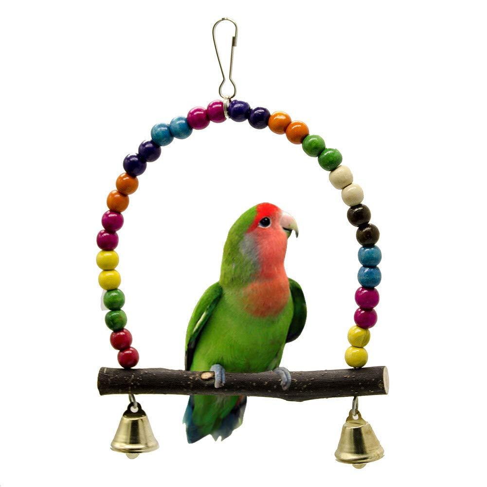 Xiton Perroquet Jouet Oiseau Fournitures Morsure balançoire Stand Bar Couleur Perles bûche balançoire en Cuir