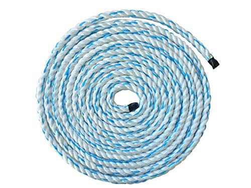Pelican Rope Poly Dacron Rope (5/8 inch) - Twisted 3 Strand Composite Line with Polypropylene Core - Moisture, Chemical & Abrasion Resistant - Marine, Arborist, Commercial (Blue Tracer - 150 feet)