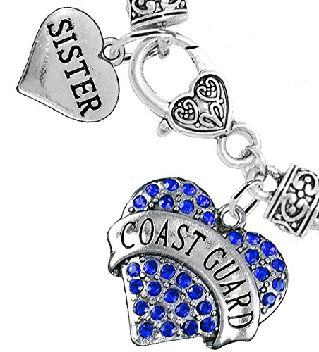 Coast Guard Sister Heart Bracelet, Hypoallergenic, WILL NOT IRRITATE Anyone With Sensitive Skin. Safe- Nickel, Lead and Cadmium Free