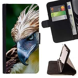 BullDog Case - FOR/Apple Iphone 6 / - / hawk bird feathers prey summer green /- Monedero de cuero de la PU Llevar cubierta de la caja con el ID Credit Card Slots Flip funda de cuer