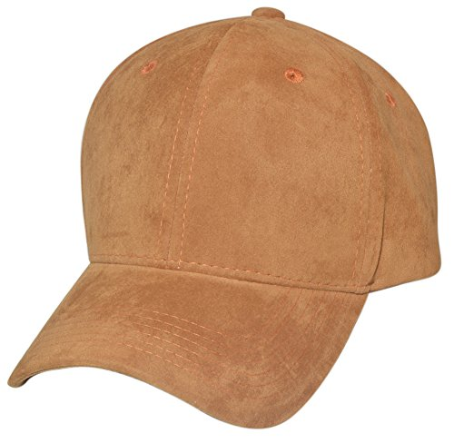 Faux Suede Baseball Caps (Structured), Light Brown](Womens Brown Baseball Caps)