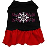 Mirage Pet Pink Snowflake Screen Print Dress Black with Red XS (8)