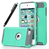 iPod Touch 6 Case, iPod Touch 5 Case,Lantier iTouch 6 Case iTouch 5 Case Hybrid Dual Layer Shockproof Case for Apple iPod Touch 6 / iPod Touch 5 6th Generation with Stylus (Mint Green/Gray)