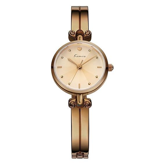 Kimio mujeres correa de acero inoxidable relojes mujer Fashion reloj de lujo oro y beige