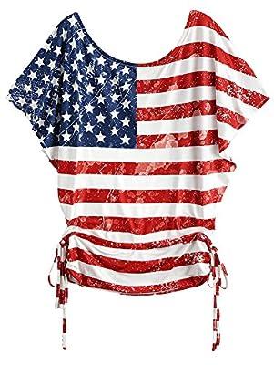 Womens Short Sleeve Shirts, Girls US Flag Printed Batwing Sleeve T-Shirt Tops