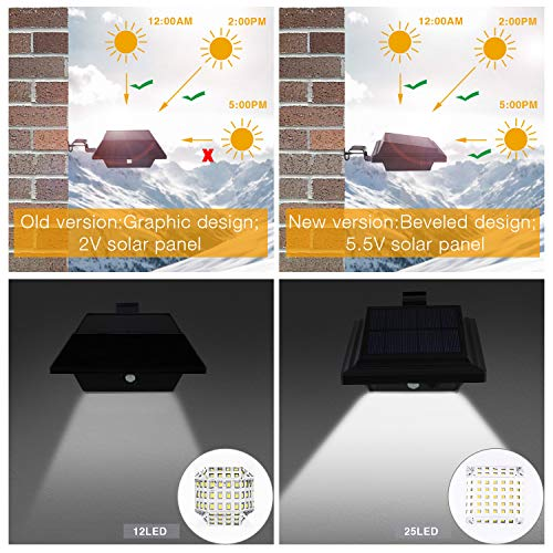 keenzo Canalón, bombilla: Solar Canalón lámpara, 12 ledes, 2 W, Sensor PIR, NEGRO, luz blanca fría, 4 unidades): Amazon.es: Iluminación